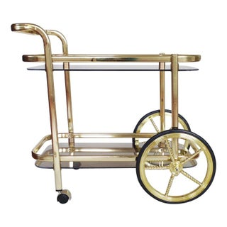 Vintage Gold & Smoked Glass Bar Cart