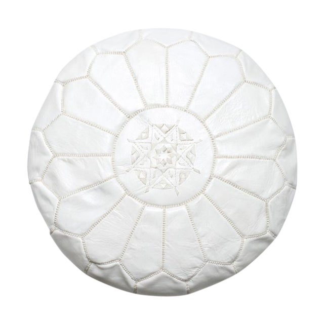 Handmade Moroccan White Leather Pouf - Image 1 of 3