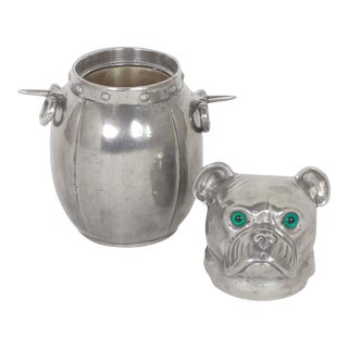Handcrafted Mid-Century Pewter Ice Bucket in the Shape of a Dog
