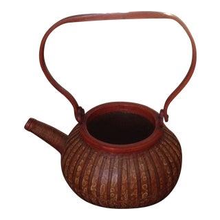 Vintage Rattan Tea Pot