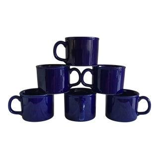 Sapphire Blue Rustic Mugs - Set of 6
