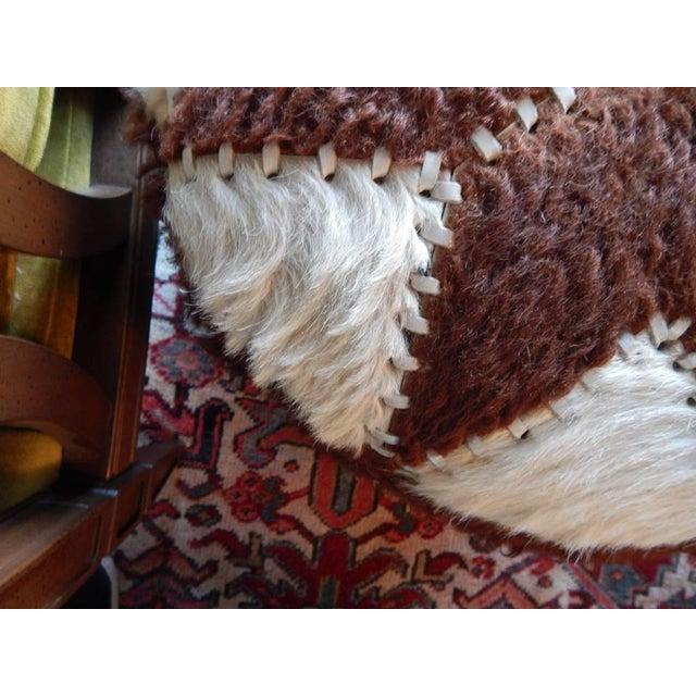 Hand-Sewn Animal Hide Ottoman Pouf - Image 4 of 4