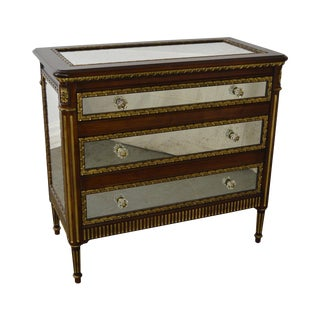 EJ Victor Julia Gray Collection Mirrored Louis XVI Style Chest Commode