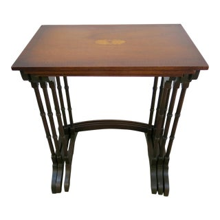 Antique Inlaid Walnut Nesting Tables - Set of 3