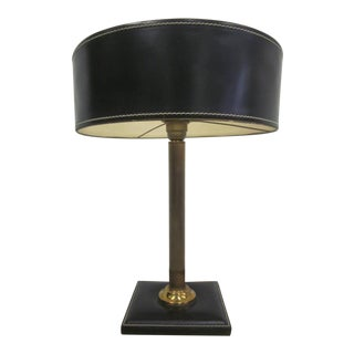 Hand-Stitched Leather Desk Lamp Attributed to Hermes