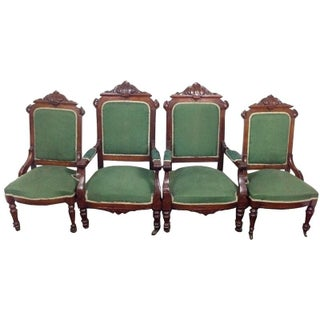 Rococo Revival Carved Dining Chairs - Set of 4