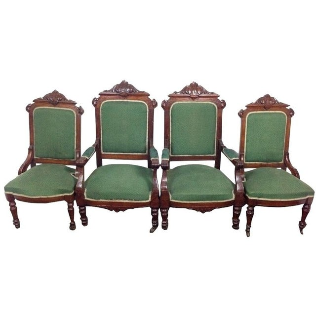 Image of Rococo Revival Carved Dining Chairs - Set of 4