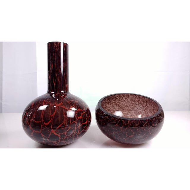 Image of MGlass Slanted Vase & Matching Bowl - A Pair