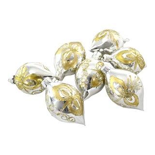 Silver & Gold Glitter Ornaments - Set of 7