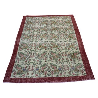 Handwoven Vintage Turkish Overdyed Rug- 7' X 9'10""