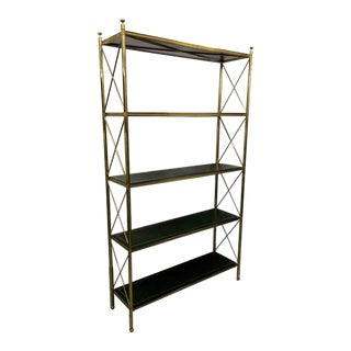 Brass and Tooled Leather Etagere by Maison Baguès