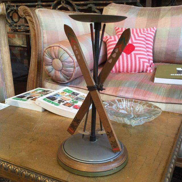 Whimsical Wood and Aluminium Snow Ski Candlesticks - Image 2 of 7