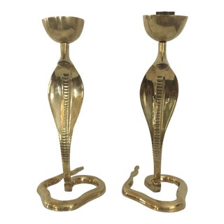 Vintage Brass Cobra Snake Candle Holders - A Pair