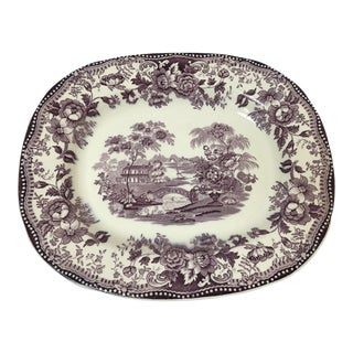Antique Staffordshire by Clarice Cliff Purple Transferware Serving Platter