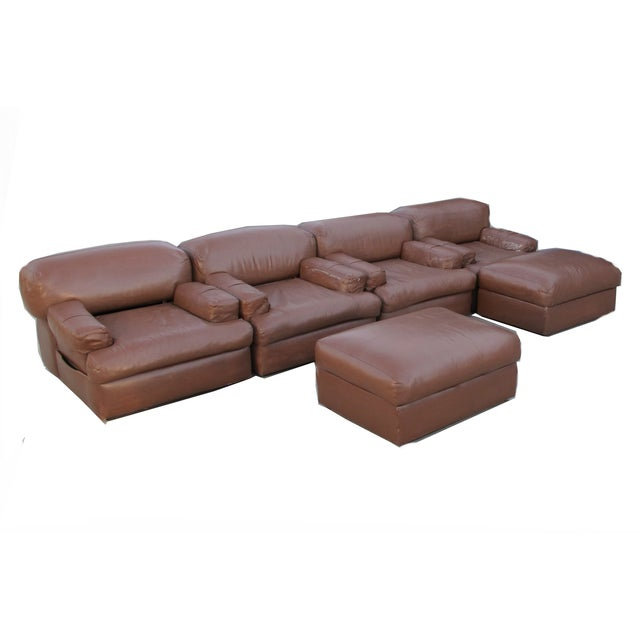 Custom Made Modular 70 39 S Sectional Leather Sofa Chairish