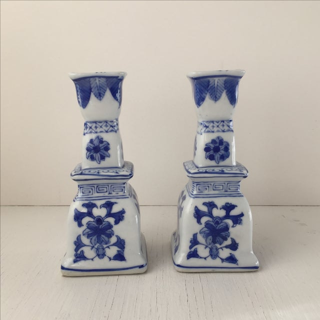 Image of Blue & White Chinese Candlesticks - A Pair