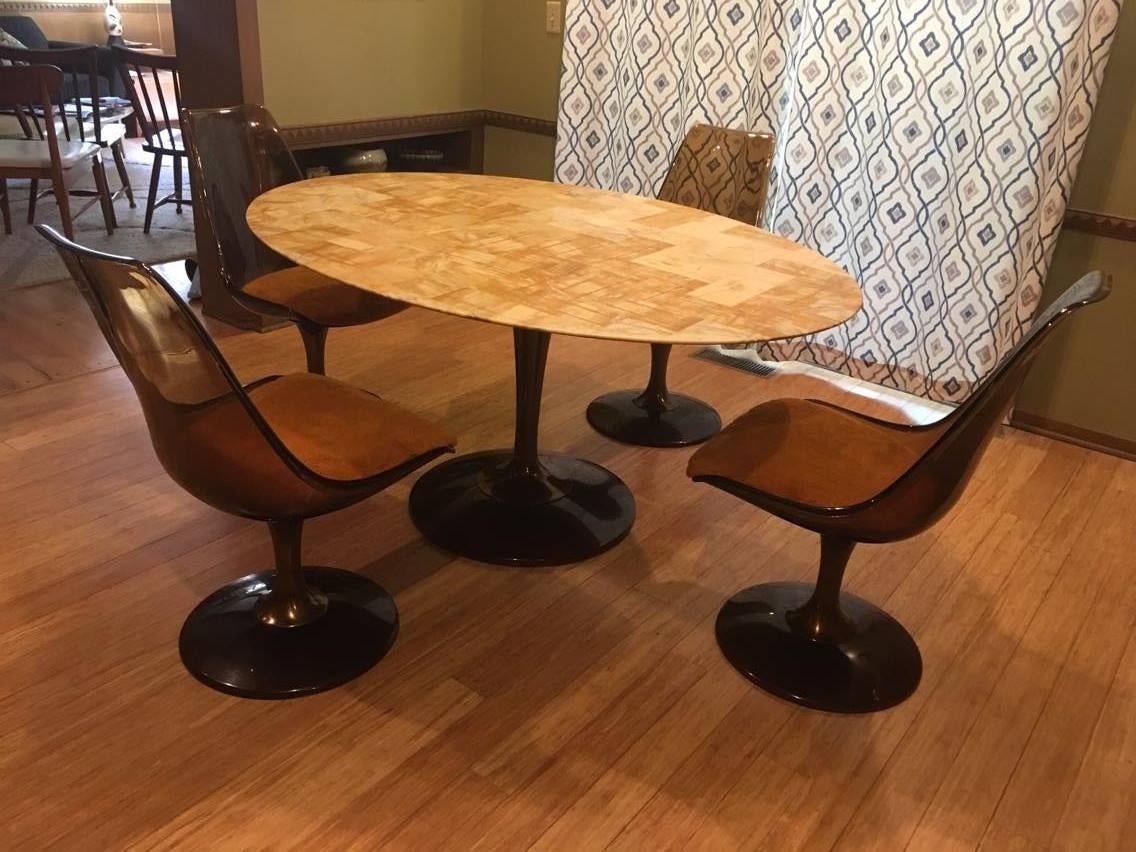 Mid Century Modern Chromcraft Amber Acrylic Dining Set With Shag Fabric  Chairs And Faux Marble