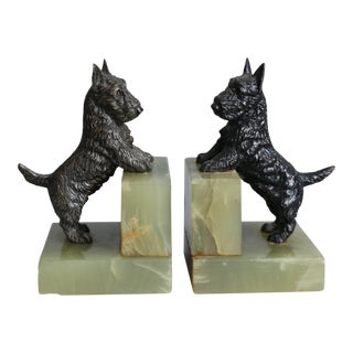 Art Deco Scottie Dog Bookends - A Pair