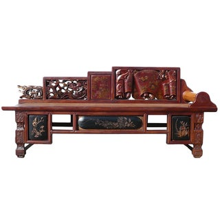 Vintage Fujian Scenery Carved Daybed Chaise
