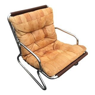 Patchwork Leather & Chrome Frame Chair