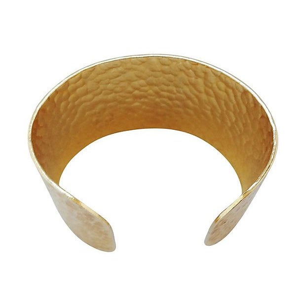 Image of Trifari Hammered Goldtone Cuff
