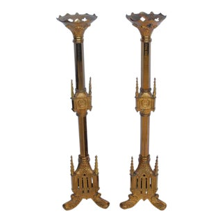 Oversized 1800's Gothic Style Bronze Candle Holders - a Pair