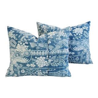 Boho Chic Shanghai Batik Chinoiserie Feather/Down Pillows - Pair