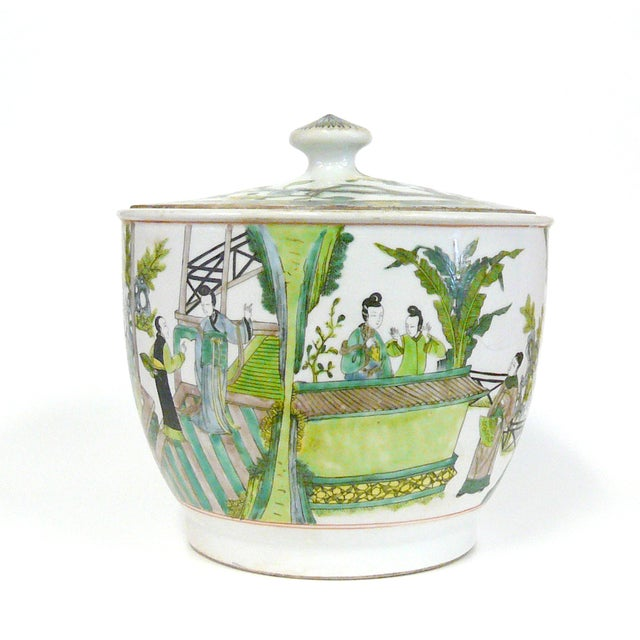 Image of Chinese White & Green Decorative Porcelain Bowl