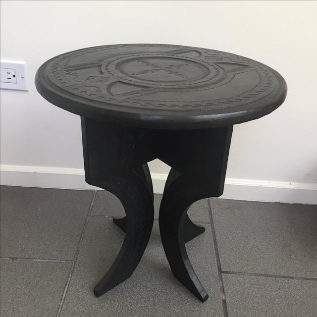 Leather Tooled Side Table in Moroccan Style - Image 2 of 6