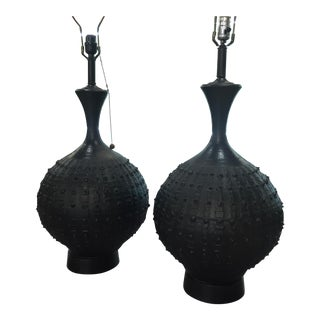 Brutalist Ceramic Lamps - Pair of