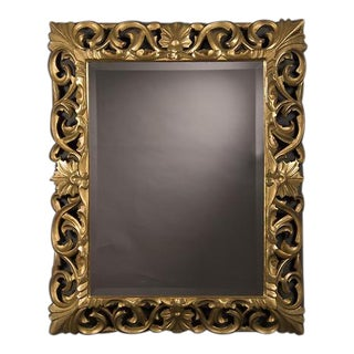 Baroque Style Gold Leaf Framed Beveled Mirror, France c. 1875 (35 1/2″w x 43 1/2″h)
