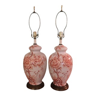 Hand Painted Floral Jar Lamps - A Pair