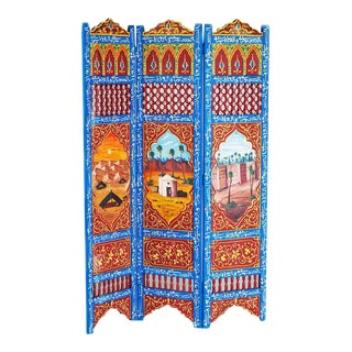 Moroccan Blue 3 Panel Screen