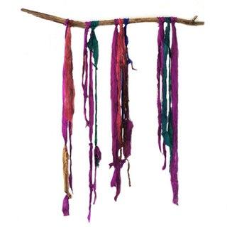 Modern Dream Catcher - Small Sari String Wall Art
