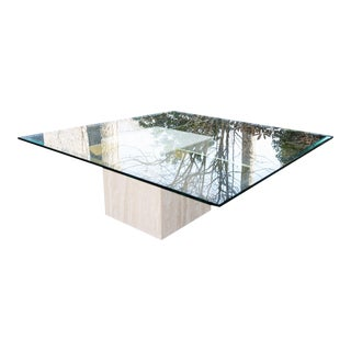 Artedi Style Travertine & Glass Coffee Table