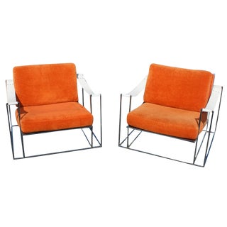 Milo Baughman Chrome Lounge Chairs - A Pair