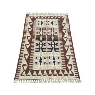 "Vintage Turkish Kilim Rug - 3'11"" X 5'11"""