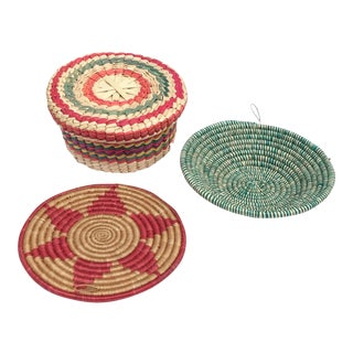 Multicolored Woven Baskets - Set of 3