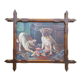 Vintage Pugs & Punch Oil Painting