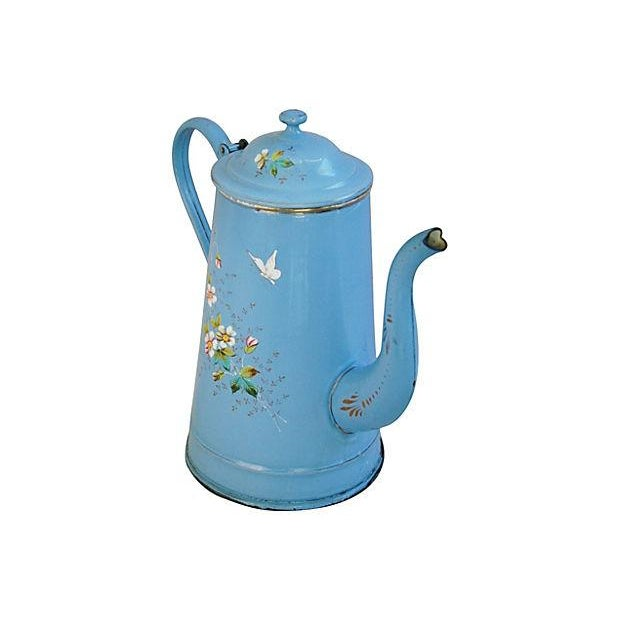 French Hand-Painted Enamelware Coffeepot - Image 3 of 7