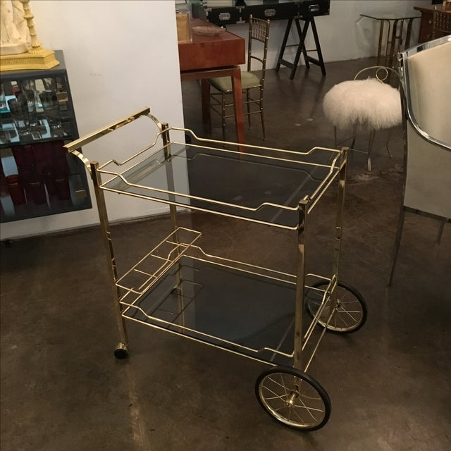 Brass with Smoke Glass Bar Cart - Image 2 of 7