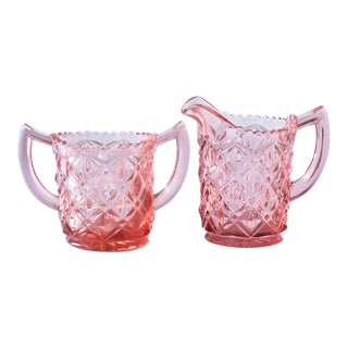Blush Pink Depression Glass Cream and Sugar - Set of 2
