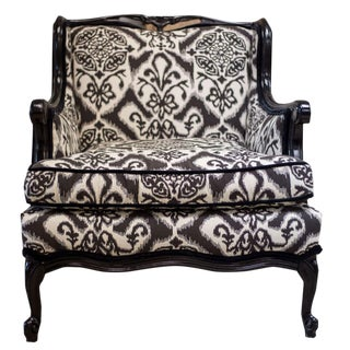 Black Ikat Damask French Provincial Chair