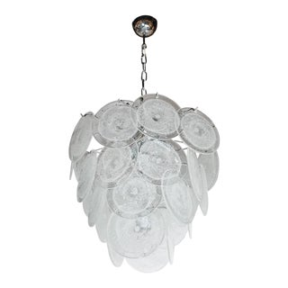 Modernist Vistosi Style Chandelier in Chrome and Textured Murano Glass Discs
