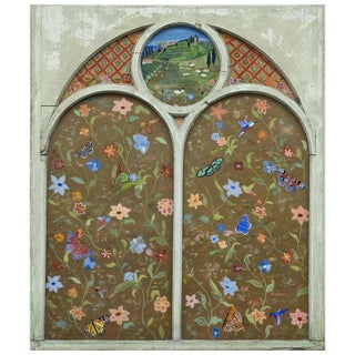 Reverse Painted Vintage Church Window