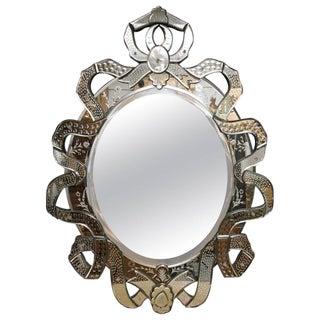 Venetian Etched Ribbon Design Wall Mirror