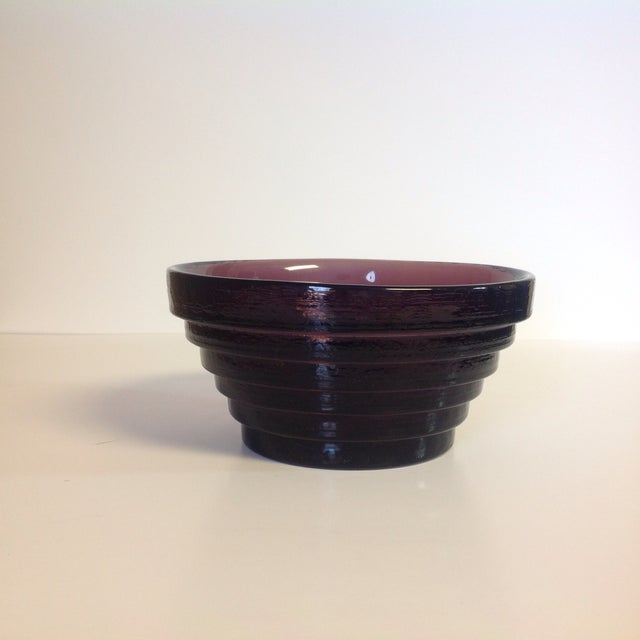 Blenko Purple Art Glass Waterfall Bowl - Image 3 of 4