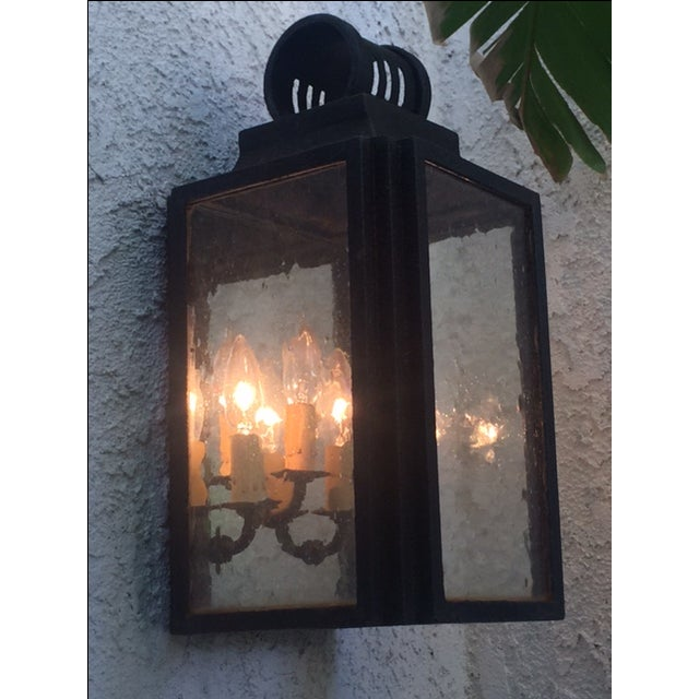 Iron and Glass Outdoor Lantern - Image 2 of 6