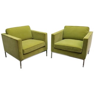 Florence Knoll Green Tuxedo Lounge Chairs - A Pair