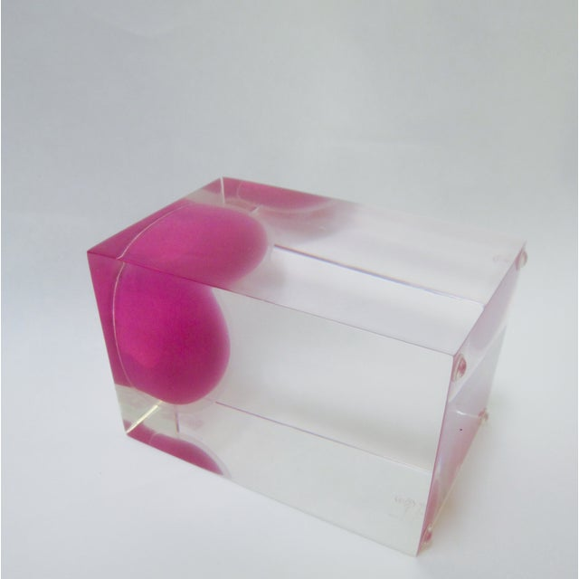 Thick Block Lucite Candle Holder, Signed - Image 5 of 8